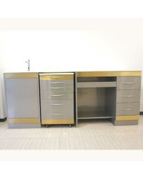 Gold Edges Stainless Steel Medical Dental Combine Cabinet