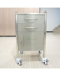 New Mobile 2-Drawers & 1-Door Stainless Steel Medical Dental cabinet Cart,450*450*820mm
