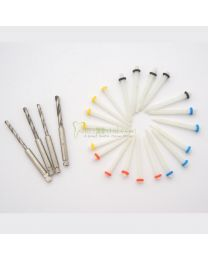 20pcs Dental Oral Resin Pile Fiber Post & 4-Drill Straight Endo Thread Quartz