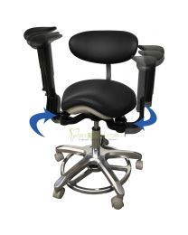 New Style Swing-out Armrests/Elbow Supports, Foot Controlled, Dental Mobile Chair Ergonomic Saddle Or Simplity Doctor's Stool/Operator Stool, Microscope Chair,  PU Leather