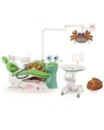 FDA & CE approved ,Lovely Snail Children Dental Chair/Unit,External Little Cute Fish Floor Box,Hand Cart,Microfiber Leather