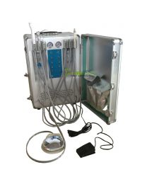 Six Holder Portable Dental Turbine Delivery Unit Trolley with Build-in COMPRESSOR, with LED curling Light & Scaler