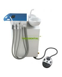Mobility Dental Suction Unit Machine, Used Separately From Dental Chair,With HVE+SE Handpiece,3 Ways Syringe,Rotatable Ceramic Spittoon