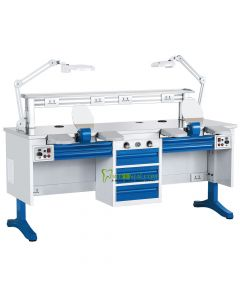 CE Approved, Dental Workstation Double Two Persons Dental Lab Equipments, Built-in Dust Collector, 1.8 M Length