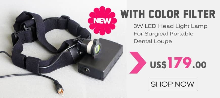 3W LED Head Light Lamp For Surgical Portable Dental Loupe with Color Filter