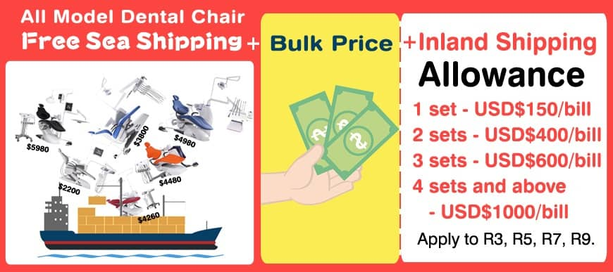 Mr.Right Dental Chair Free Sea Shipping & Get $1000 Inland Shipping Allowance!
